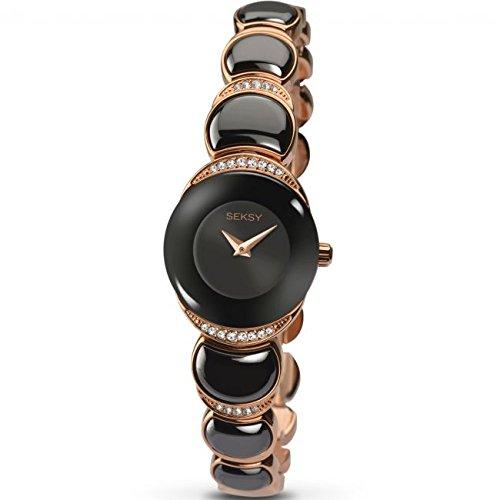Sekonda Seksy Damen Rose Vergoldet Armband Uhr Schwarz Zifferblatt Crystal Set Fall 2296