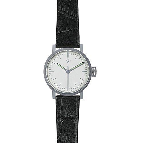 nichtig v03p po CN WH Lederband schwarz Band weiss Zifferblatt Silber
