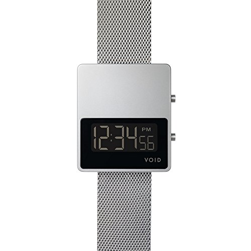 V01 MKII Digital Watch Matt Silber Gebuerstetes Gehaeuse Silbernes Milanesearmband