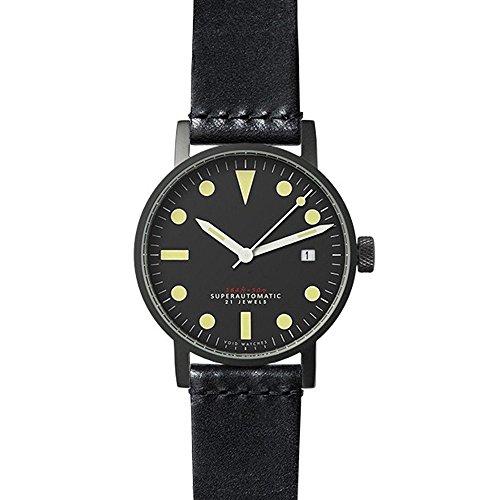 nichtig v03 m bl TB Schwarz Leder Strap Band Schwarz Zifferblatt Armbanduhr