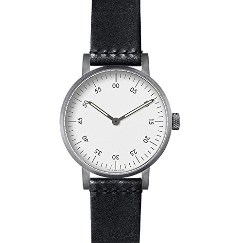 nichtig v03b br TB WH Edelstahl schwarz Lederband weiss Zifferblatt Silber Armbanduhr