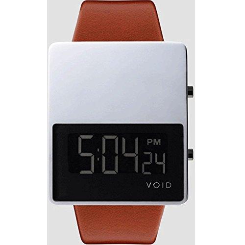 Void V01EL PO RU Unisex Stailess Brown Lederband Schwarz Weiss Zifferblatt Watch