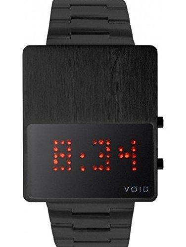 Void V01LED BL MB Unisex Stailess Schwarzes Armband Band Schwarzes Vorwahlknopf Digitaluhr