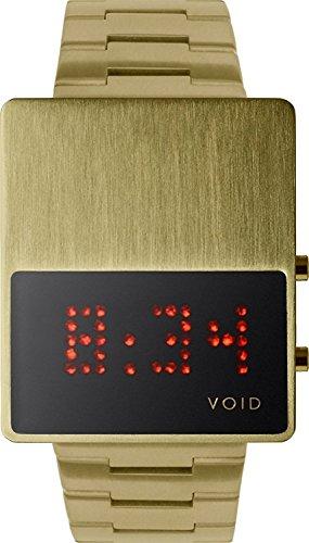 Void V01LED GO MG Unisex Stailess Braun Lederband Schwarz Dial Digital Watch