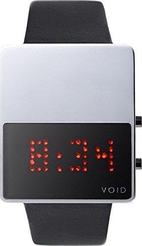 Void V01LED PO BL Unisex Stailess Schwarz Lederband Schwarz Dial Digital Watch