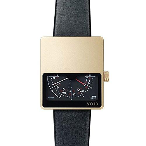 Void V01MKII Quarz Analog Edelstahl IP Gold Saphir Schwarz Leder Unisex Uhr