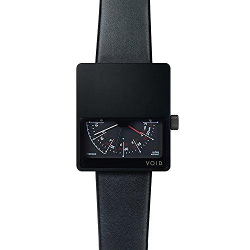 Void V01MKII Quarz Analog Edelstahl IP Schwarz Saphir Leder Unisex Uhr