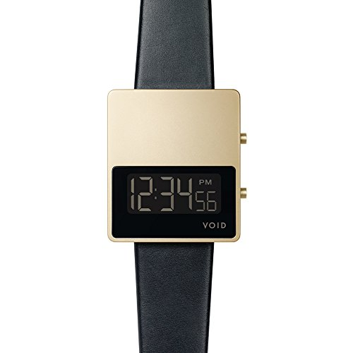 Void V01MKII Digital Quarz Edelstahl Gold Dater Saphir Schwarz Leder Unisex Uhr