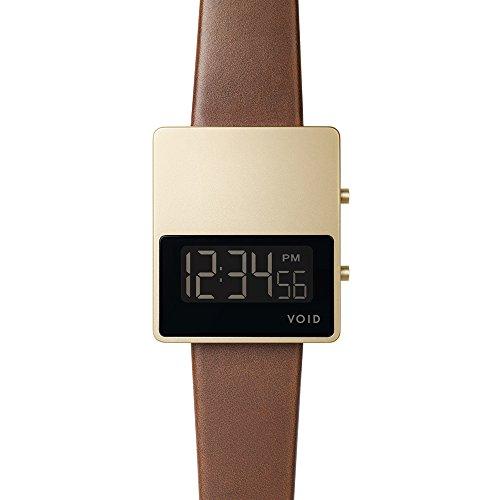 Void V01MKII Digital Quarz Edelstahl IP Gold Dater Saphir Braun Leder Unisex Uhr