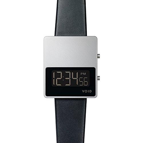 Void V01MKII Digital Quarz Edelstahl Schwarz Dater Saphir Leder Unisex Uhr