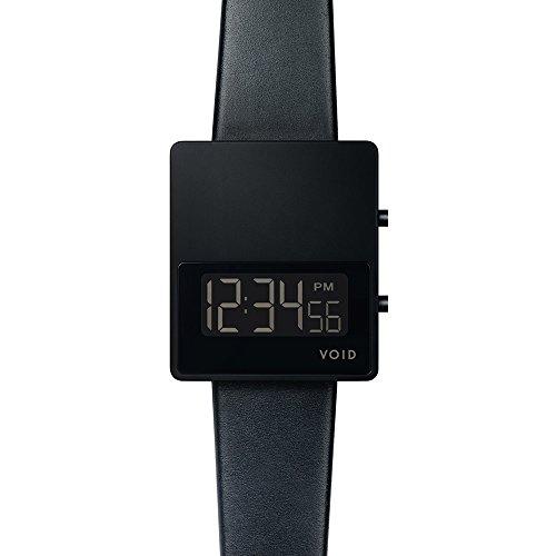 Void V01MKII Digital Quarz Edelstahl IP Schwarz Dater Saphir Leder Unisex Uhr