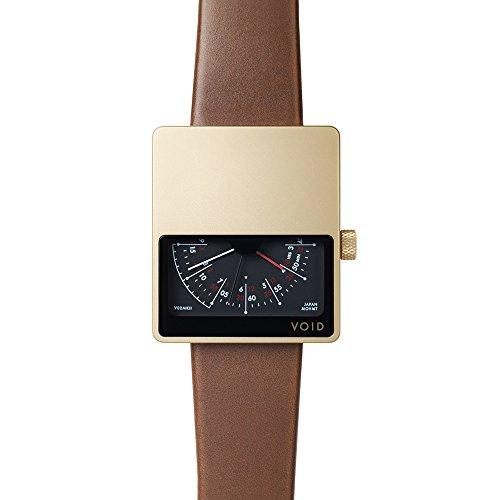Void V01MKII Quarz Edelstahl IP Gold Saphir Schwarz Braun Leder Unisex Uhr