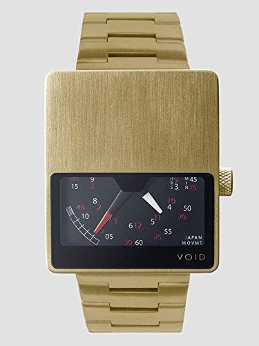 Void V02 GO MG Unisex Stailess Braun Lederband Schwarz Dial Digital Watch
