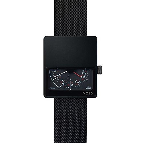V02 MKII Analoguhr von David Ericsson fuer VOID Watches Style Schwarz Gebuerstetes Gehaeuse Schwarzes Milanesearmband