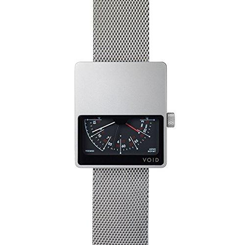 V02 MKII Analoguhr von David Ericsson fuer VOID Watches Style Matt Silbernes Gehaeuse Silbernes Milanesearmband