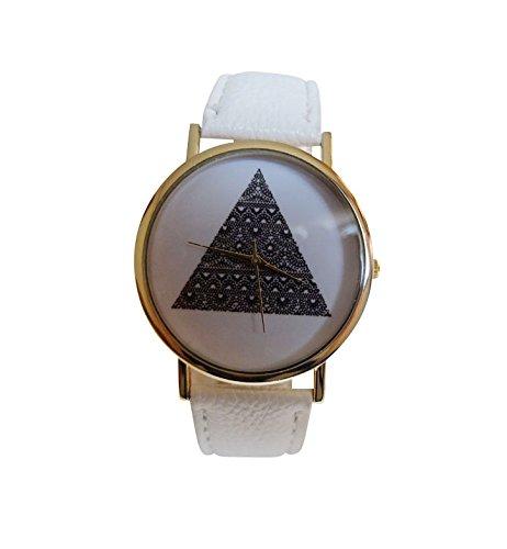 Unisex Armbanduhr Dreieck Triangle Muster Hipster Vintage Blogger Ethno Analog Quarz gold schwarz weiss lw1487