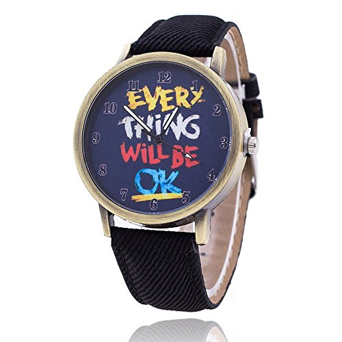 Unisex Armbanduhr Everything will be ok ziffern alt gold jeansband schwarz