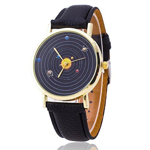 Unisex Armbanduhr Planeten Quarz keine Ziffern Lederband schwarz gold