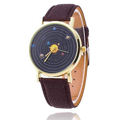 Unisex Armbanduhr Planeten Quarz keine Ziffern Lederband schwarz braun