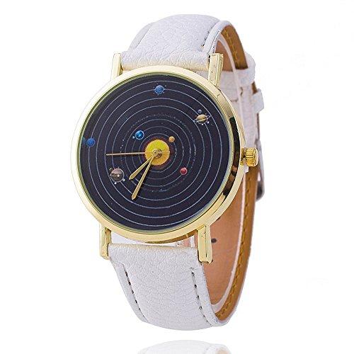 Unisex Armbanduhr Planeten Quarz keine Ziffern Lederband schwarz weiss
