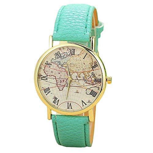 Unisex Armbanduhr roemische Ziffern Weltkarte Flugzeug gold Lederband blau