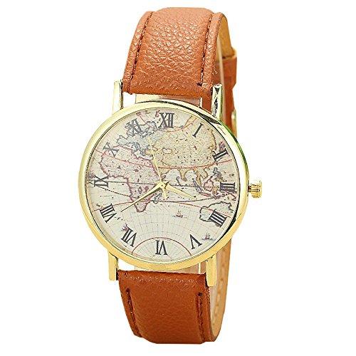 Unisex Armbanduhr roemische Ziffern Weltkarte Flugzeug gold Lederband braun