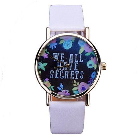 Damen Armbanduhr We all have secrets Geheimnis Uhr Blumen Analog Quarz gold weiss