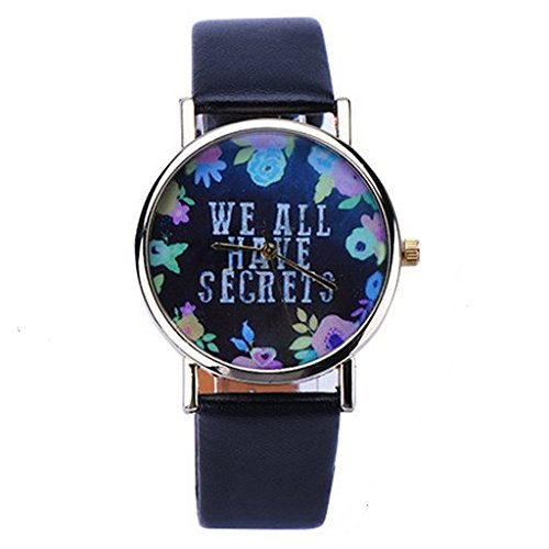 Damen Armbanduhr We all have secrets Geheimnis Uhr Blumen Analog Quarz gold schwarz