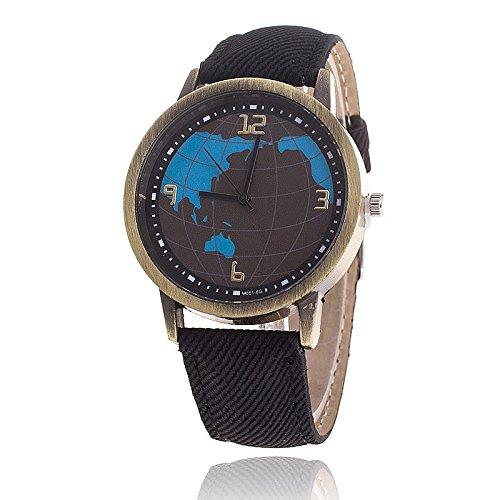 Unisex Armbanduhr Quarz Weltkarte Ziffern Alt gold Jeansband schwarz