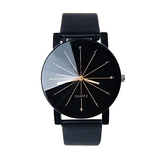 Unisex Armbanduhr Quarz keine Ziffern Strahlen Lederband schwarz Gold
