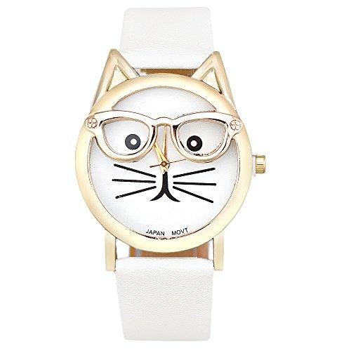 Katze Brille Ohren ohne Ziffern Lederband gold weiss weiss
