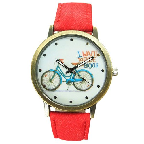 Quarz Fahrrad bicycle Jeansband gold rot
