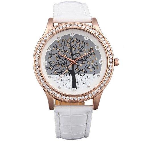 Damen Armbanduhr Quarz Strass Baum Tree Leder gold weiss