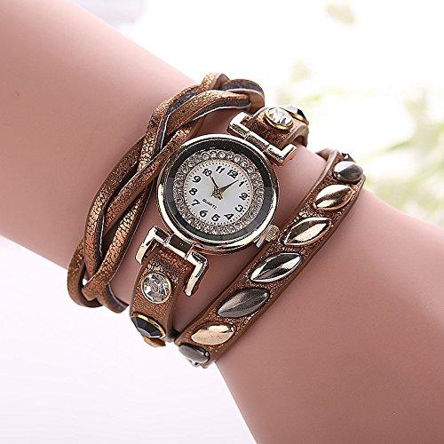 Damen Armbanduhr Quarz Strass geflochtenes Textilband gold braun