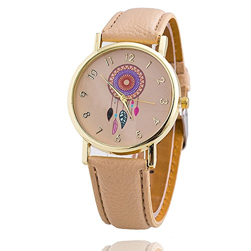 Damen Armbanduhr Traumfaenger Dreamcatcher Analog Quarz gold braun