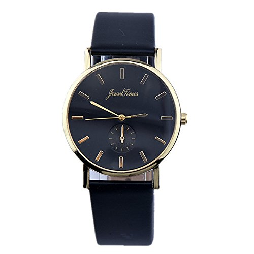 JewelTimes Unisex Armbanduhr Lederband glatt minimal gold 3014 schwarz