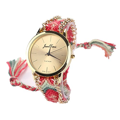 JewelTimes minimal gold geflochten Armband 3015 pink