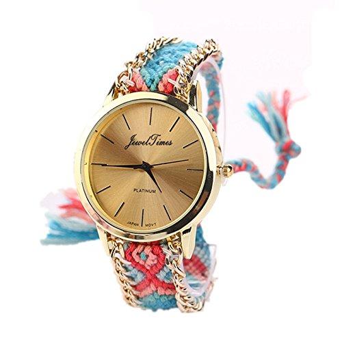 JewelTimes minimal gold geflochten Armband 3015 blau