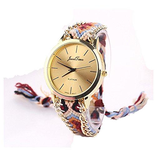 JewelTimes minimal gold geflochten Armband 3015 braun