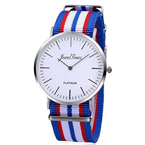 JewelTimes Unisex Armbanduhr minimal nato gestreift Textilband silber 3008 blau
