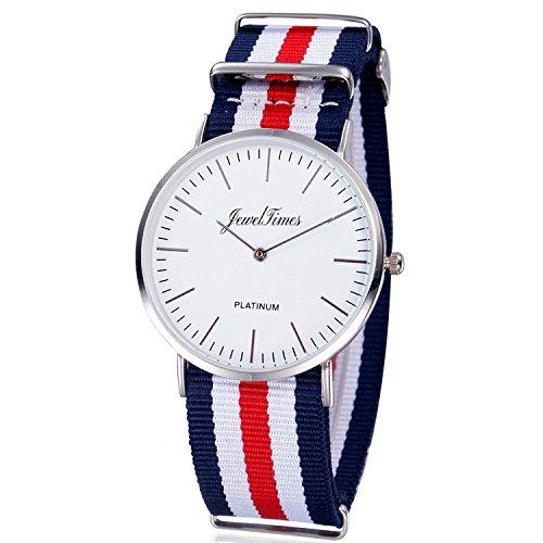 JewelTimes Unisex Armbanduhr minimal nato gestreift Textilband silber 3008 rot