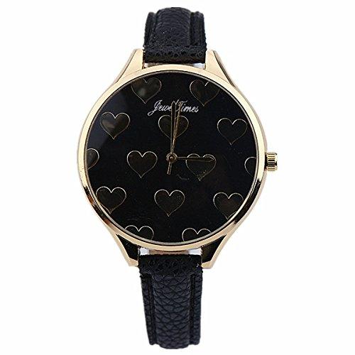 JewelTimes minimal Herzen Lederband gold 3016 black