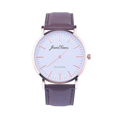 JewelTimes Unisex Armbanduhr minimal Lederband rosegold 3010 braun