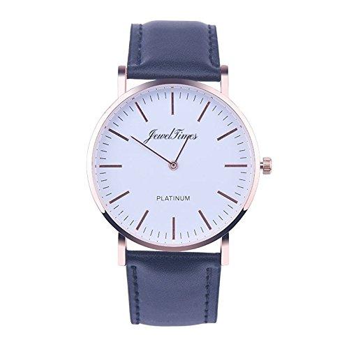 JewelTimes Unisex Armbanduhr minimal Lederband rosegold 3010 schwarz