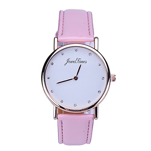 JewelTimes minimal Zifferblatt Lederband 3018 pink