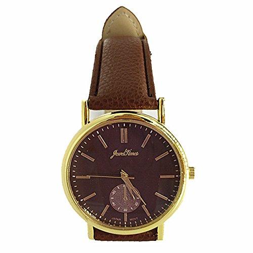 JewelTimes Unisex Armbanduhr minimal ohne Ziffern Lederband 3027 braun