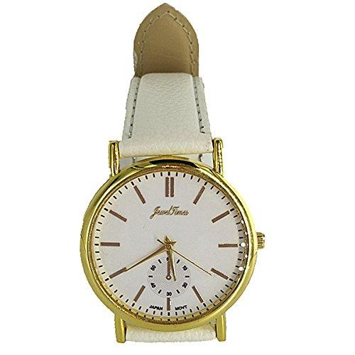 JewelTimes Unisex Armbanduhr minimal ohne Ziffern Lederband 3027 weiss