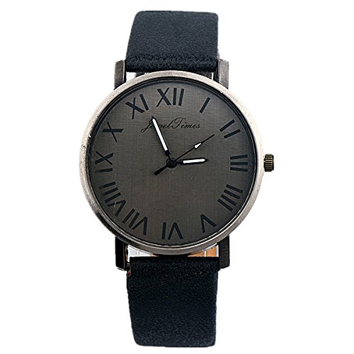 JewelTimes Unisex Armbanduhr roemische Ziffern simpel Lederband 3013 schwarz
