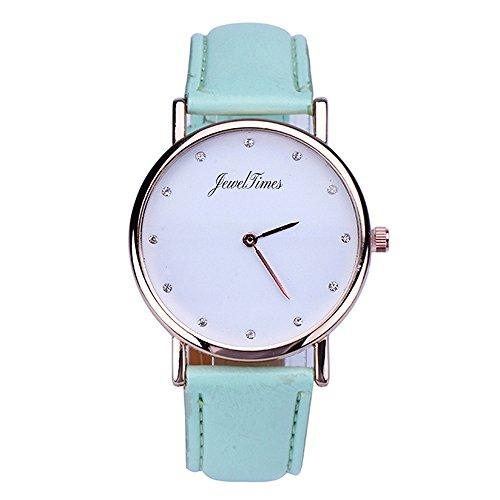 JewelTimes Damen Armbanduhr minimal Zifferblatt Lederband 3018 mintgruen