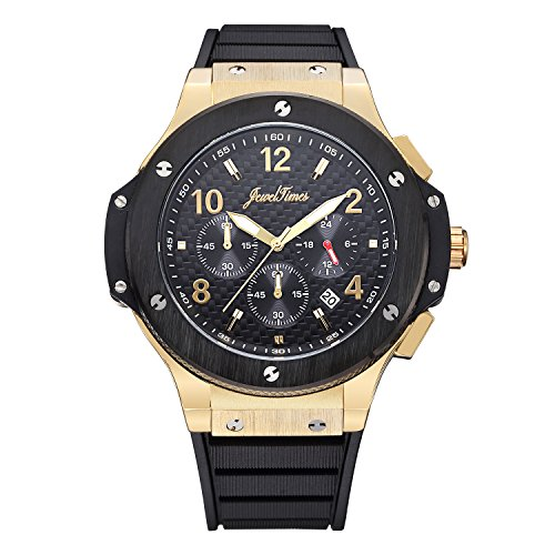 JewelTimes Herren Armbanduhr Carbon Ziffernblatt Chronograph Stoppuhr Analog Quarz gold